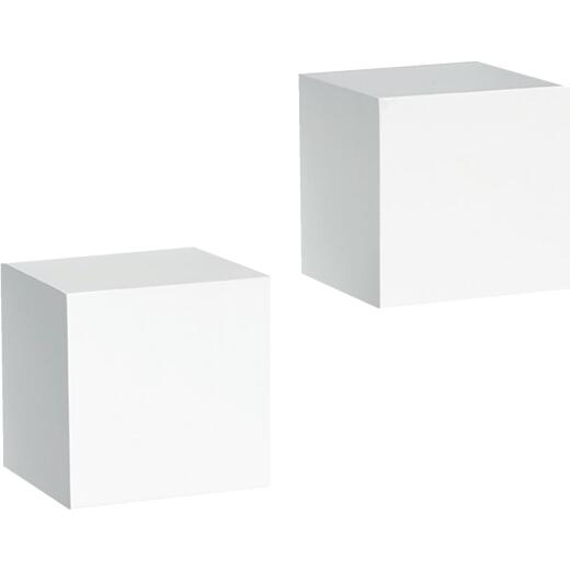 Knape & Vogt 2, 5 In. X 5 In. White Floating Wood Wall Cubes