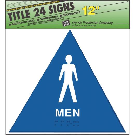 Hy-Ko Plastic Restroom Sign, Men