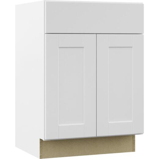 Continental Cabinets Andover Shaker 24 In. W x 34 In. H x 21 In. D White Vanity Base, 2 Door