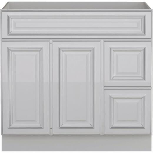 Sunny Wood Riley White with Dover Glaze 36 In. W x 34-1/2 In. H x 21 In. D Vanity Base, 2 Door/RH 2 Drawer