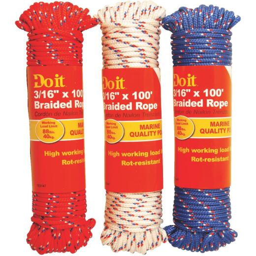 Do it 3/16 In. x 100 Ft. Assorted Colors Diamond Braided Polypropylene Packaged Rope