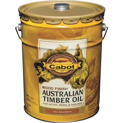 Cabot Australian Timber Oil Water Reducible Translucent Exterior Oil Finish, Jarrah Brown, 5 Gal.