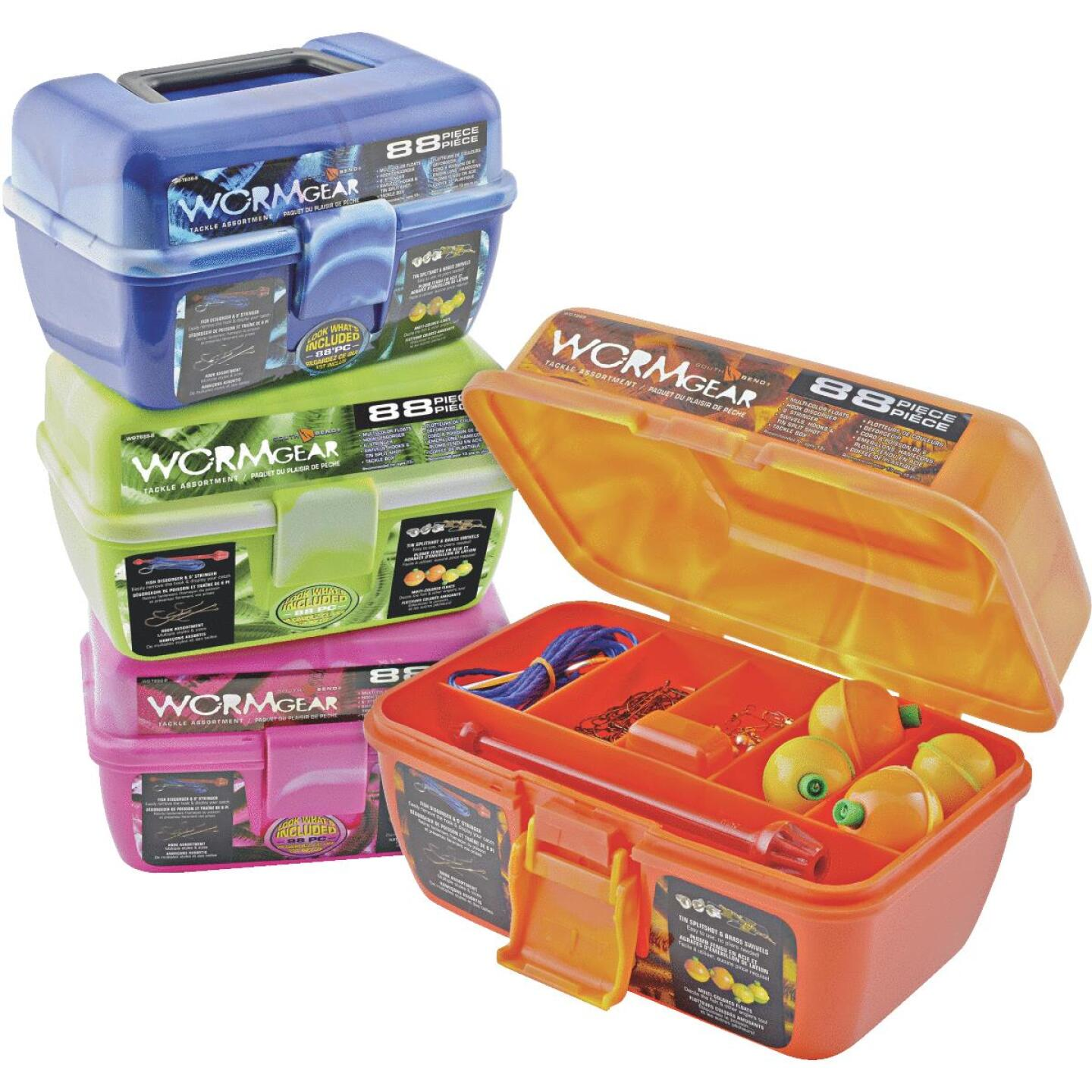Worm Gear 7-Compartment Tackle Box with Tackle Image 1